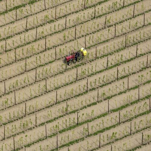 Luchtfoto van boer op tractor in boomgaard
